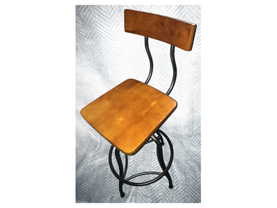 Stool Wooden With Metal Frame Swivel